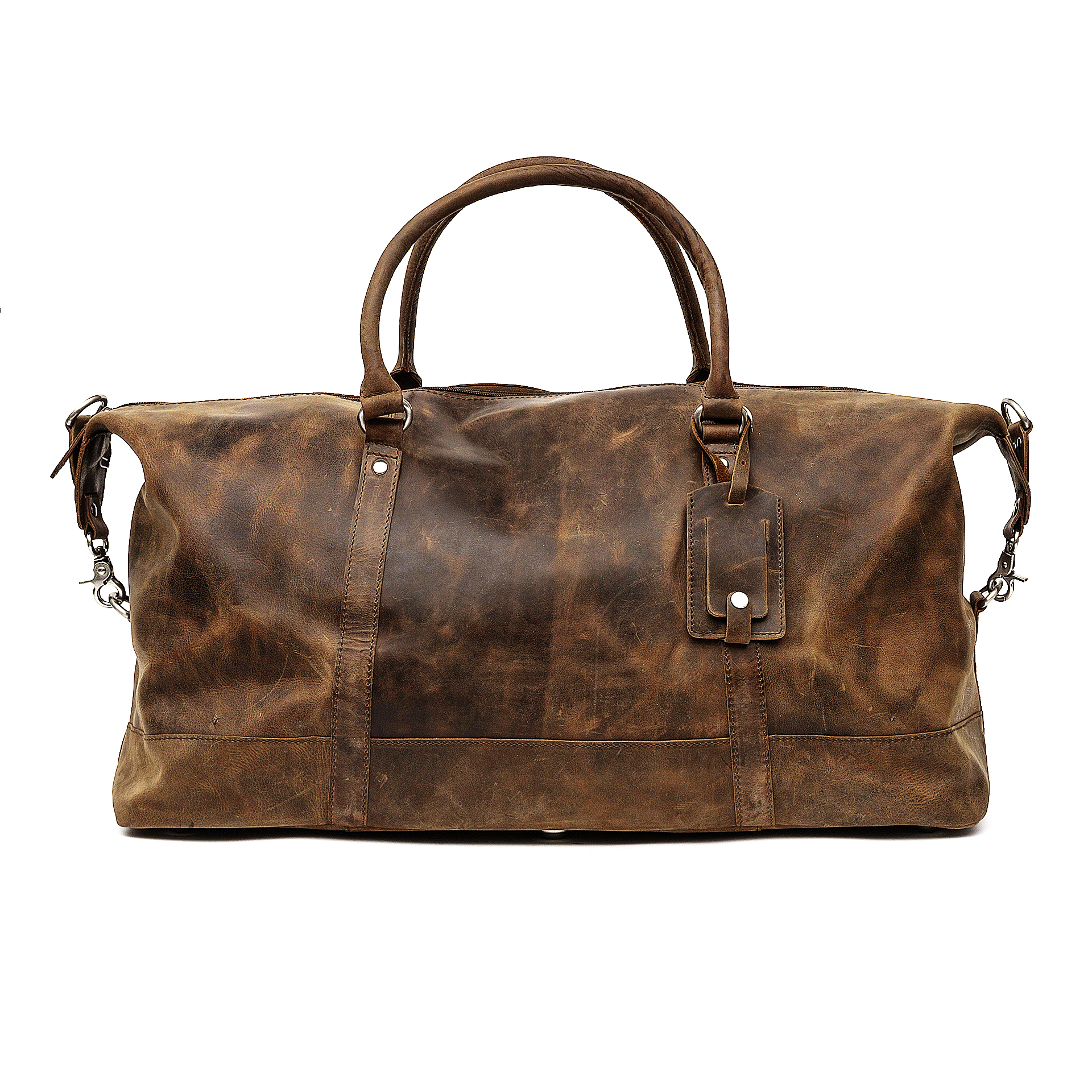 Distressed Leather Duffle Bag Holdall Brown Cabin Bag
