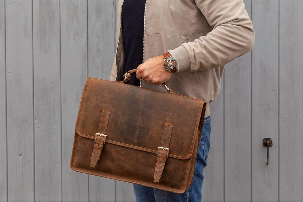 Porterbello Small Tan Leather Satchel Briefcase Laptop Bag