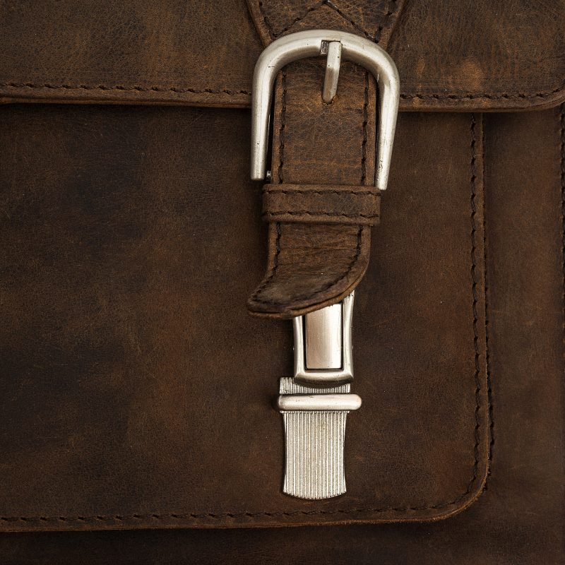 Trieste compact distressed leather satchel