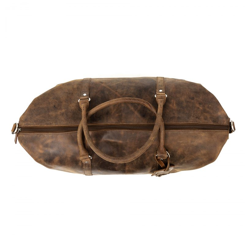 distressed leather duffle bag