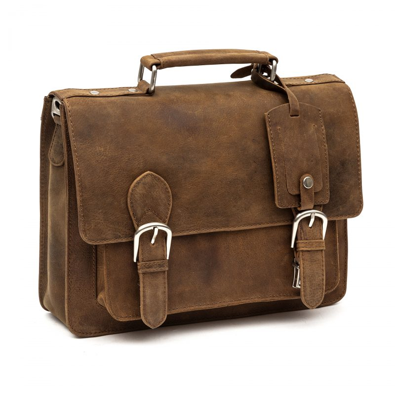 Trieste compact tan leather satchel
