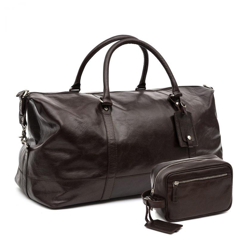 Turin leather holdall travel set