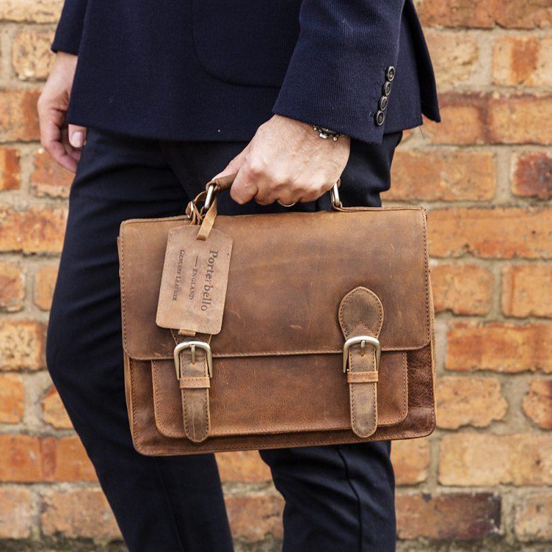 compact trieste tan satchel